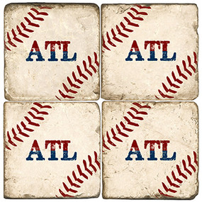Atlanta GA Baseball Coaster Set. Handcrafted Marble Giftware by Studio Vertu.