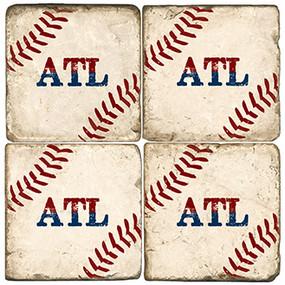 Atlanta GA Baseball Coaster Set. Handcrafted Marble Giftware by Studio Vertu.