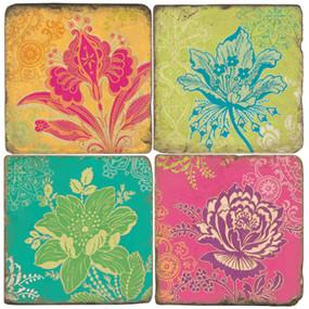 MOD Flowers Coaster Set. Handmade Marble Giftware by Studio Vertu.