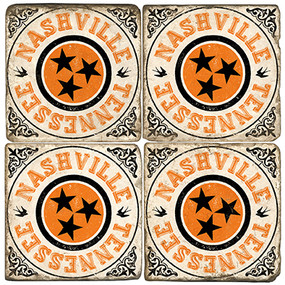 Nashville Tennessee Coaster Set.  Handmade Marble Giftware by Studio Vertu.