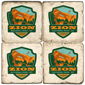 Zion National Park Coaster Set. License artwork by Anderson Design Group.