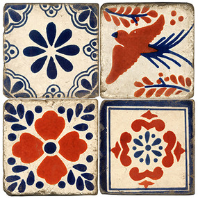 Mexican Tiles design on Italian marble coasters. Handcrafted Marble Giftware by Studio Vertu.