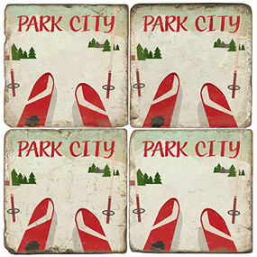 Park City Ski Coaster Set. Handcrafted Marble Giftware by Studio Vertu.