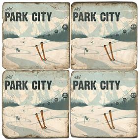 Park City Ski Coaster Set. Handcrafted Marble Giftware by Studio Vertu.