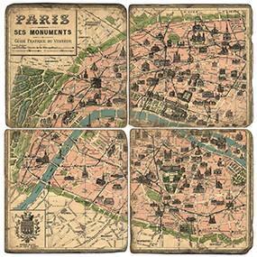 Retro Paris Coaster Set. Handmade Marble Giftware by Studio Vertu.