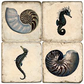 Crustacean Coaster Set. License artwork by Anderson Design Group. Handcrafted Marble Giftware by Studio Vertu.