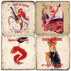 Moulin Rouge Coaster Set. Handmade Marble Giftware by Studio Vertu.