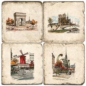 Paris, France Landmarks coaster set. Illustration by Anderson Design Group.