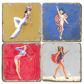 Pin-up Girls Coaster Set. Handcrafted Marble Giftware by Studio Vertu.