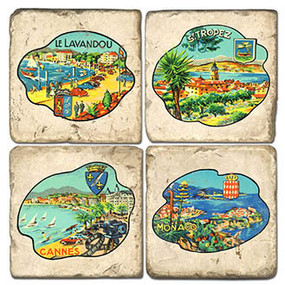 Riviera Postcard Coaster Set. Handcrafted Marble Giftware by Studio Vertu.