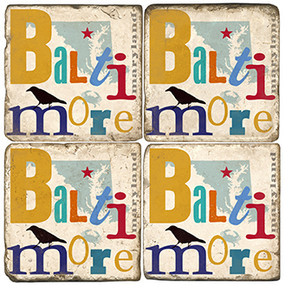 Baltimore, Maryland Collage Coaster Set. Handcrafted Marble Giftware by Studio Vertu.