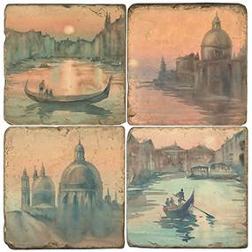 Vintage Venice, Italy Hotel Coaster Set. Handmade Marble Giftware by Studio Vertu.