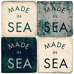 Made in Sea Coaster Set. Handcrafted Marble Giftware by Studio Vertu.