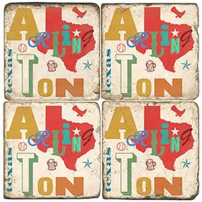 Arlington Texas Coaster Set. Handcrafted Marble Giftware by Studio Vertu.