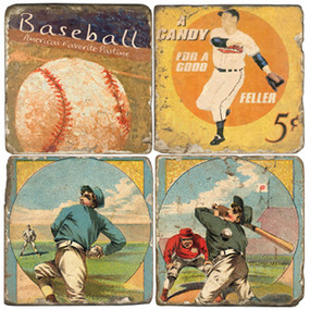Vintage Baseball Coaster Set. Handcrafted Marble Giftware by Studio Vertu.