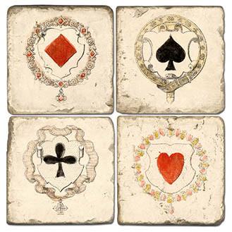 Playing Cards Coaster Set. Handmade Marble Giftware by Studio Vertu.