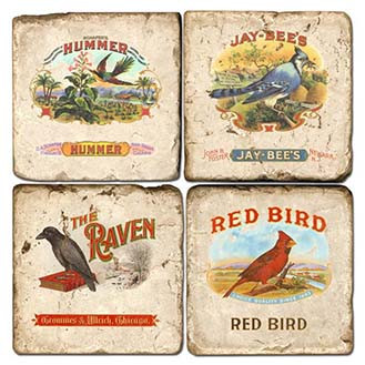 Bird Themed Cigar Labels Coaster Set. Handcrafted Marble Giftware by Studio Vertu.