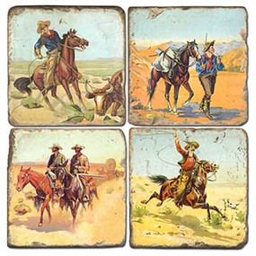 Cowboy Themed Coaster Set. Handcrafted Marble Giftware by Studio Vertu.