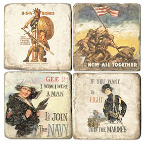 Military Girls Coaster Set. Handcrafted Marble Giftware by Studio Vertu.