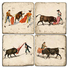 Bull Fighting Coaster Set. Handcrafted Marble Giftware by Studio Vertu.