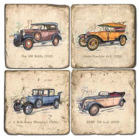 Cars Coaster Set. Genuine Once Blind Studio licensed images. Handcrafted Marble Giftware by Studio Vertu.