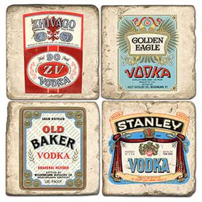 Vintage Vodka Label Coaster Set. Handmade Marble Giftware by Studio Vertu.
