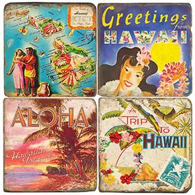 Vintage Hawaii Coaster Set. Handcrafted Marble Giftware by Studio Vertu.