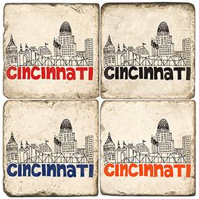 Cincinnati OH Coaster Set. Handcrafted Marble Giftware by Studio Vertu.