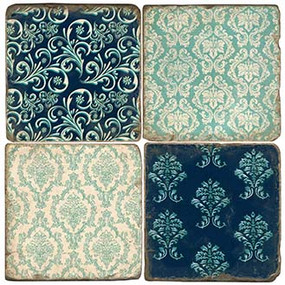 Blue Damask Pattern Coaster Set