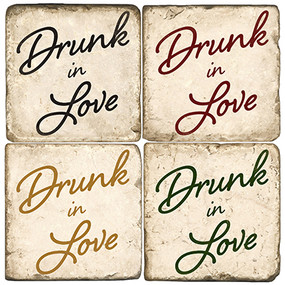 Drunk in Love Coaster Set. Handcrafted Marble Giftware by Studio Vertu.