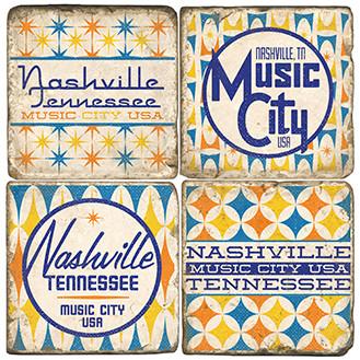 Nashville Tennessee Coaster Set.  Handmade Marble Giftware by Studio Vertu.