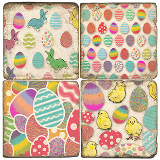 Easter Bunnies and Chicks Coaster Set. Handcrafted Marble Giftware by Studio Vertu.
