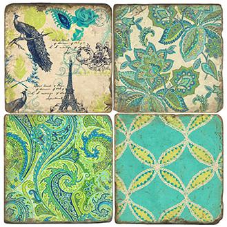 Pretty as a Peacock  Coaster Set. Handmade Marble Giftware by Studio Vertu.
