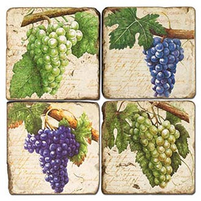 Botanical Grapes coaster set. Handcrafted Marble Giftware by Studio Vertu.