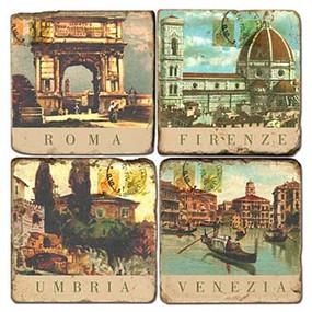 Vintage Italy Hotel Coaster Set. Handmade Marble Giftware by Studio Vertu