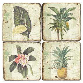 Tropical Palms Coaster Set. Handmade Marble Giftware by Studio Vertu.