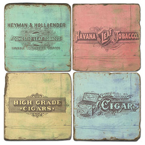 Vintage Cigar Label Coaster Set. Hand Made Marble Giftware by Studio Vertu.
