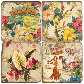 Vintage Hawaii Coaster Set. Handcrafted Marble Giftware by Studio Vertu.
