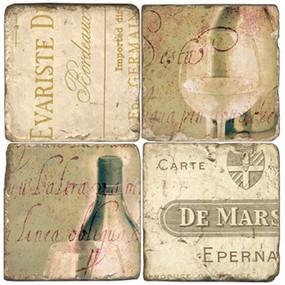 Wine Coaster Set. Tumbled Italian Marble Giftware by Studio Vertu.