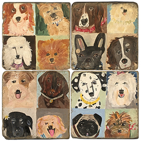 Dog Paintings Coaster Set. Handcrafted Marble Giftware by Studio Vertu.