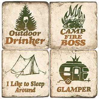 Camping Themed Coaster Set.  Handmade Marble Giftware by Studio Vertu.