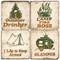 Camping Themed Coaster Set.  Handmade Marble Giftware by Studio Vertu.