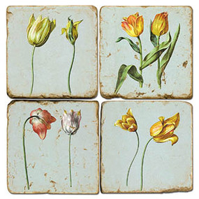 Floral Collage Coaster Set. Handcrafted Marble Giftware by Studio Vertu.
