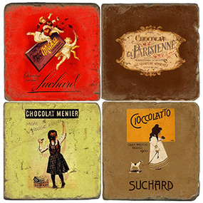 Vintage Chocolate Label Coaster Set. Handcrafted Marble Giftware by Studio Vertu.