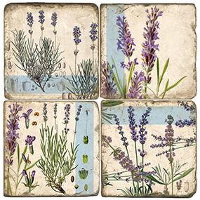 Lavender Coaster Set. Handmade Marble Giftware by Studio Vertu.