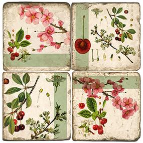 Cherry Blossom Coaster Set. Handmade Marble Giftware by Studio Vertu.