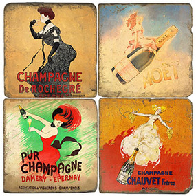 Vintage Champagne Label Coaster Set. Handcrafted Marble Giftware by Studio Vertu.