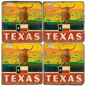 Texas Lone Star coaster set. Handmade Marble Giftware by Studio Vertu.