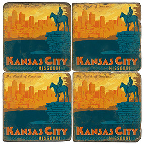 Kansas City Coaster Set. Handcrafted Marble Giftware by Studio Vertu.