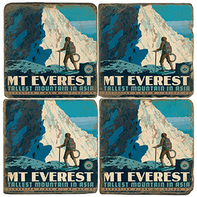 Mt. Everest Coaster Set. Handmade by Studio Vertu. License artwork by Anderson Design Group.